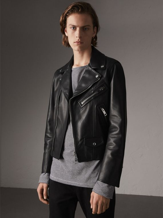 Clean-lined Leather Biker Jacket in Black