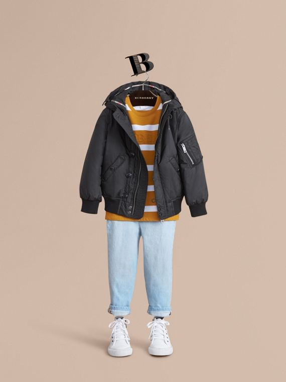 Hooded Lightweight Bomber Jacket in Black - Boy | Burberry Canada