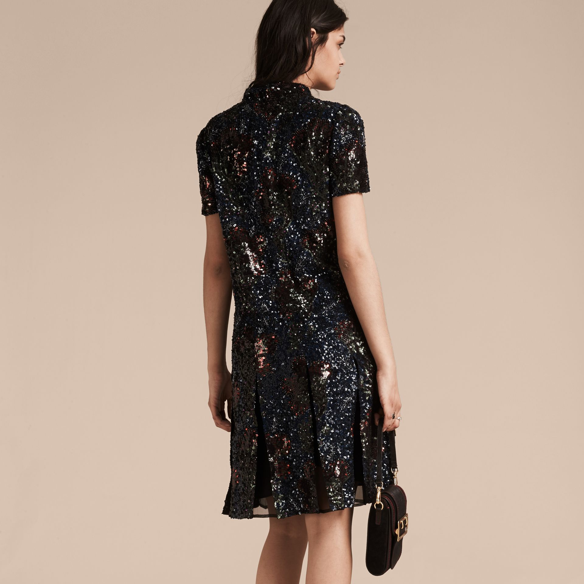 Black Hand-embroidered Sequin Dress - gallery image 3