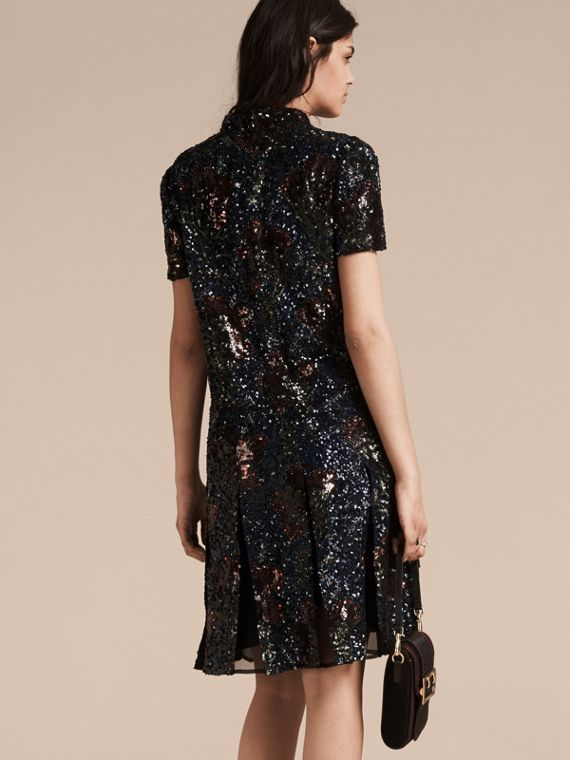 Black Hand-embroidered Sequin Dress - cell image 2
