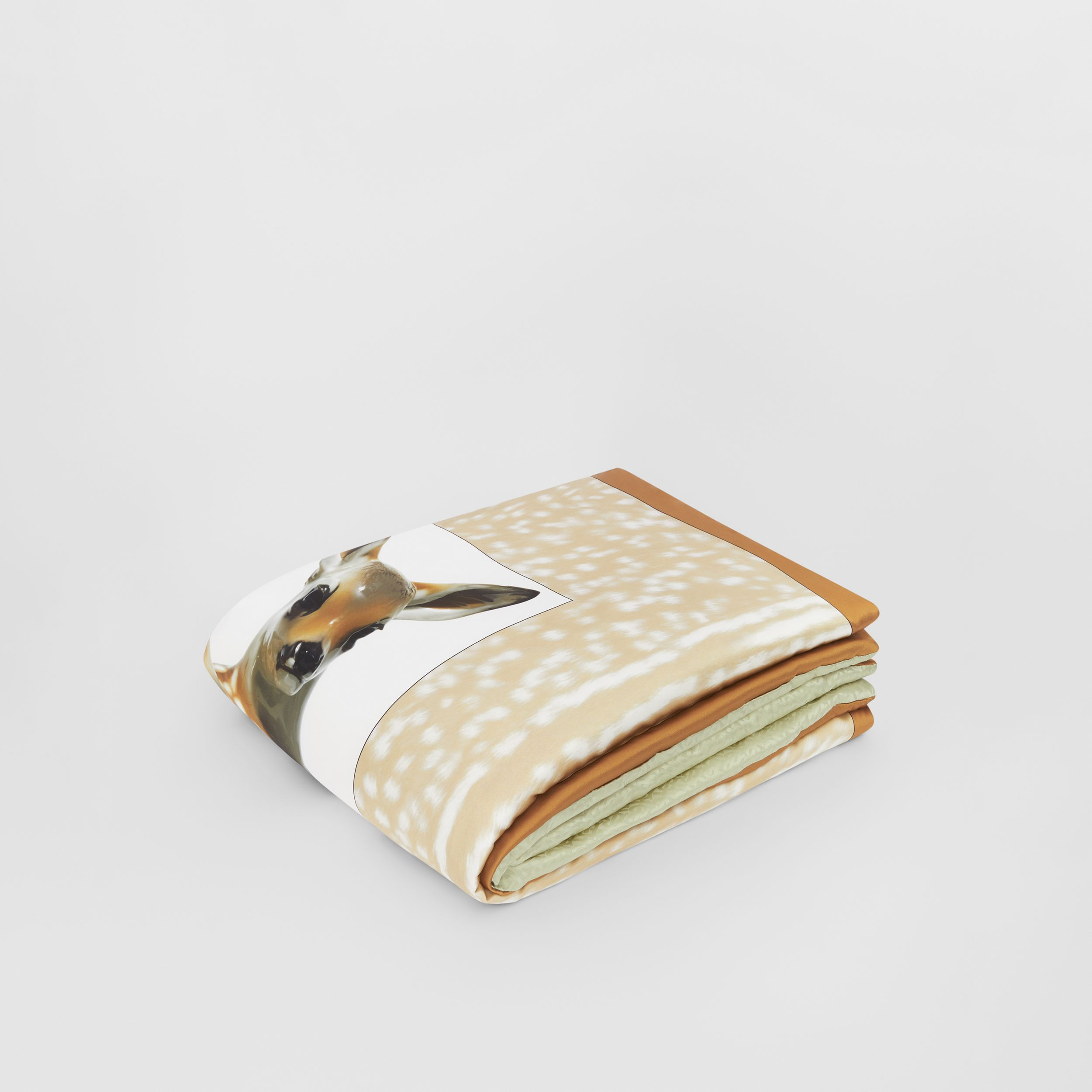 Deer Print Monogram Silk Satin Jacquard Throw in Soft Fawn | Burberry - 1