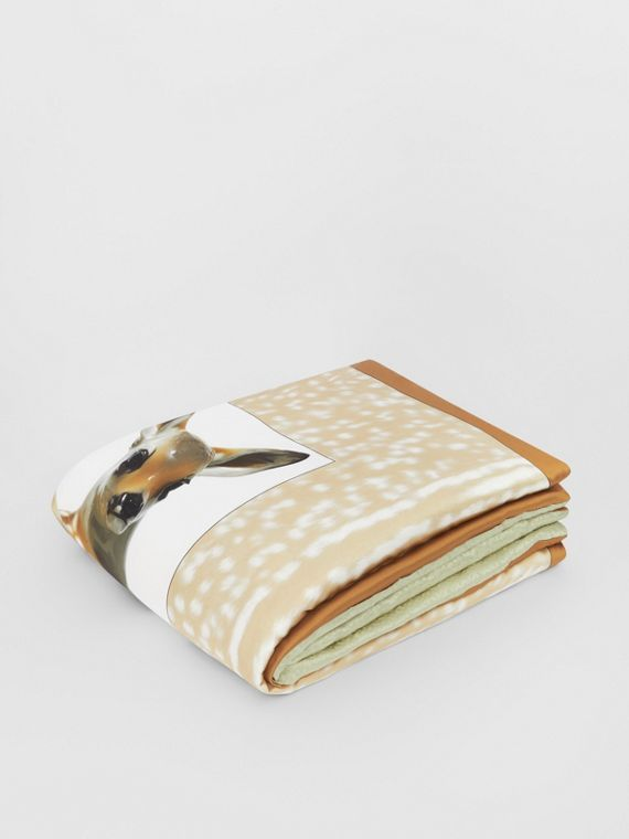 Deer Print Monogram Silk Satin Jacquard Throw in Soft Fawn