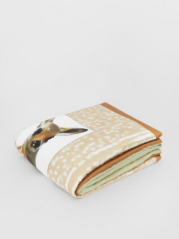 Copriletto jacquard in raso di seta con monogramma e stampa cerbiatto (Fulvo Tenue)