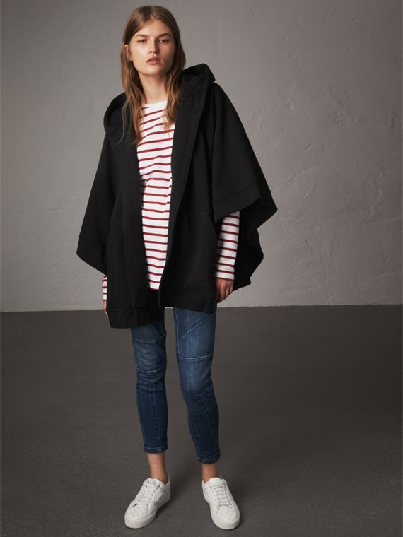 Beasts Motif Hooded Sweatshirt Poncho in Black - Women | Burberry - cell image 2