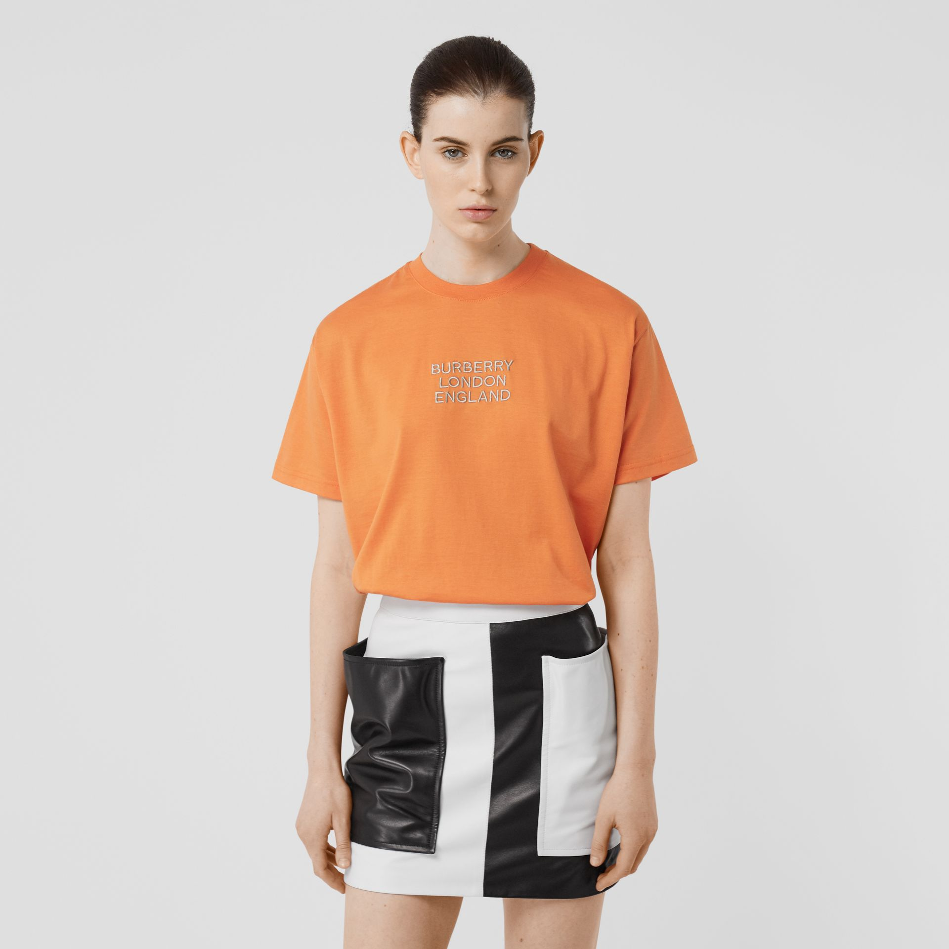 Embroidered Logo Cotton Oversized T-shirt in Bright Orange - Women | Burberry - gallery image 4