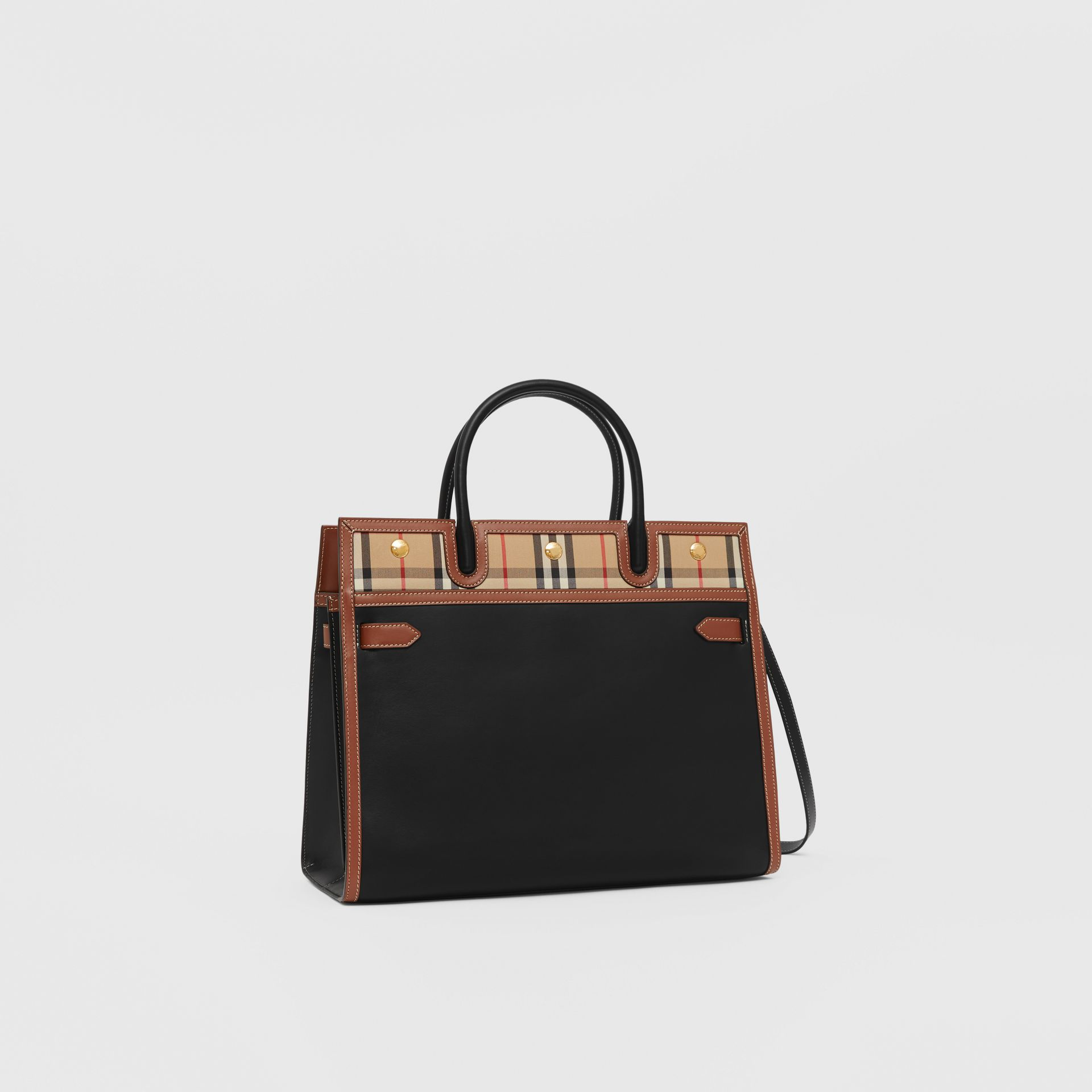 Mini Leather and Vintage Check Two-handle Title Bag in Black - Women | Burberry - gallery image 6