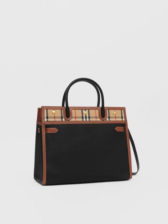 Mini sac Title en cuir et Vintage check à double poignée (Noir)