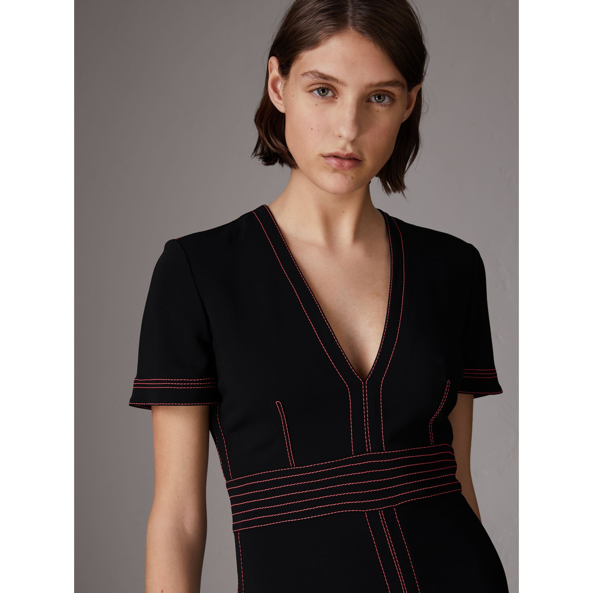Contrast Topstitch Detail Crepe V-neck Dress in Black - Women | Burberry - gallery image 1