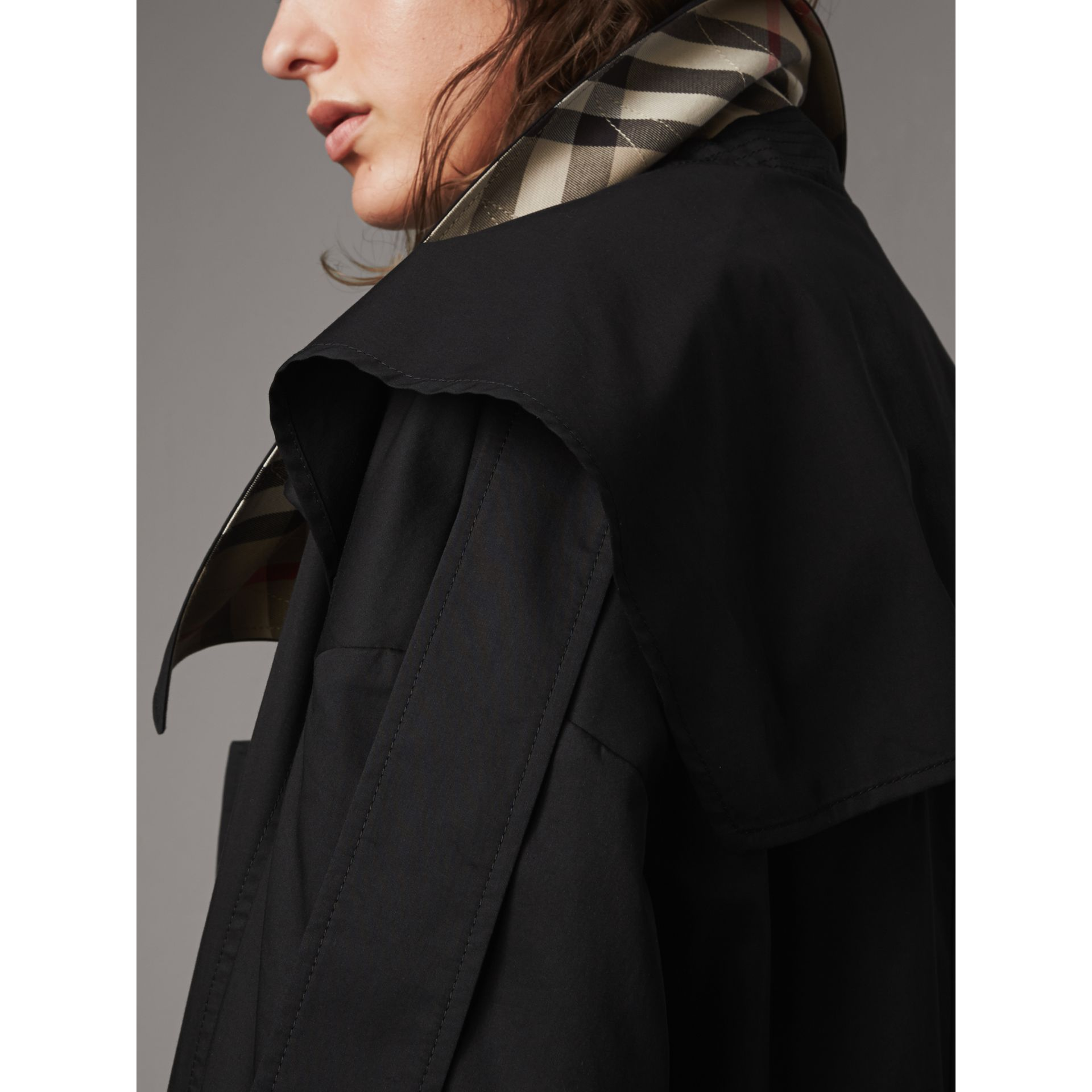 Cotton Asymmetric Trench Coat in Black - Women | Burberry - gallery image 5