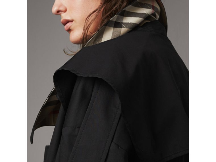 Cotton Asymmetric Trench Coat in Black - Women | Burberry Singapore - cell image 4