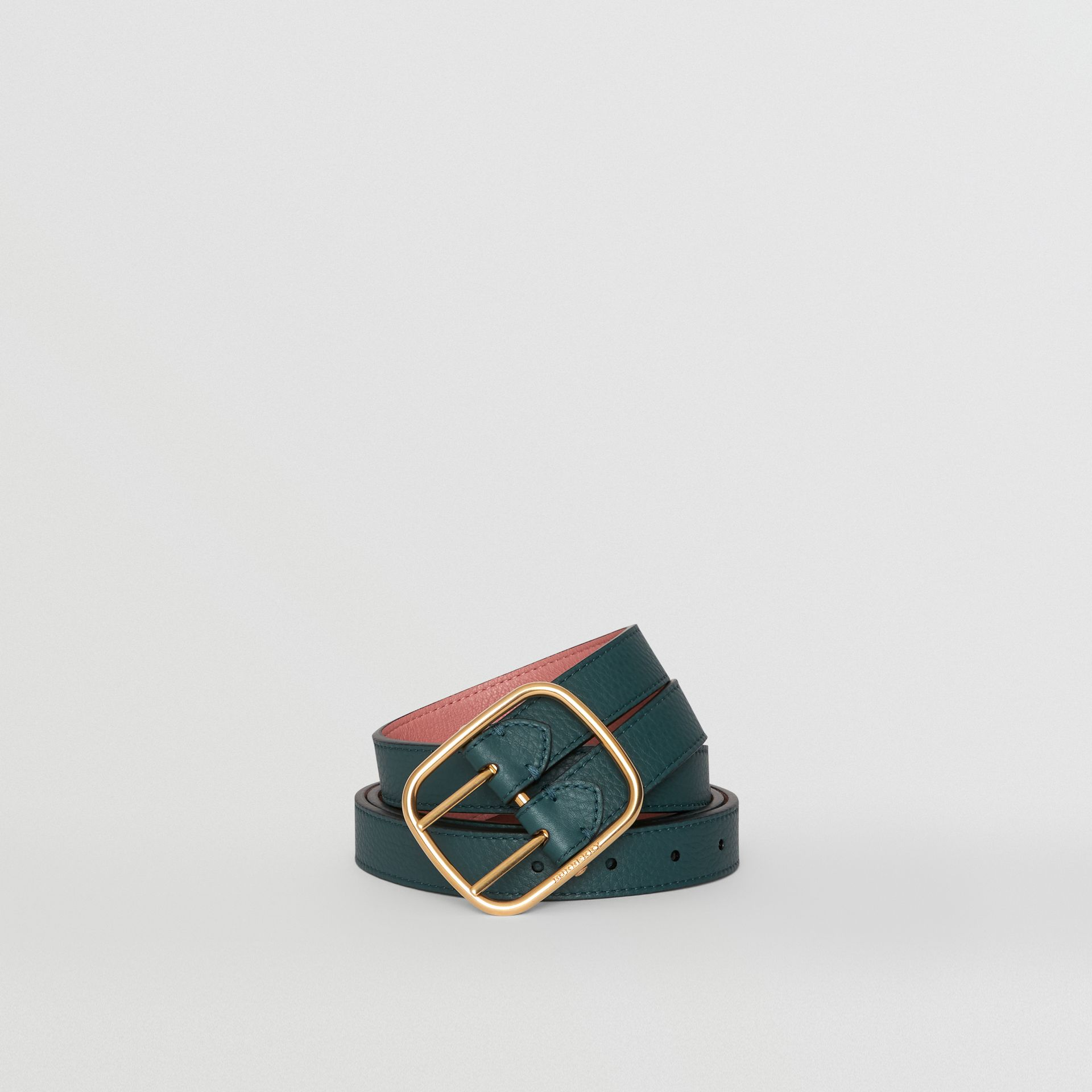 Double-strap Leather Belt in Dark Cyan/dusty Rose - Women | Burberry Australia - gallery image 0
