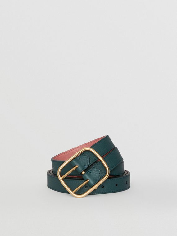 Double-strap Leather Belt in Dark Cyan/dusty Rose