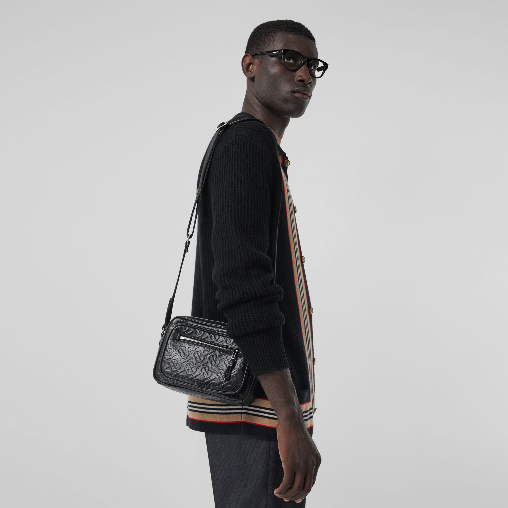 Monogram Leather Crossbody Bag in Black - Men | Burberry Australia - gallery image 2