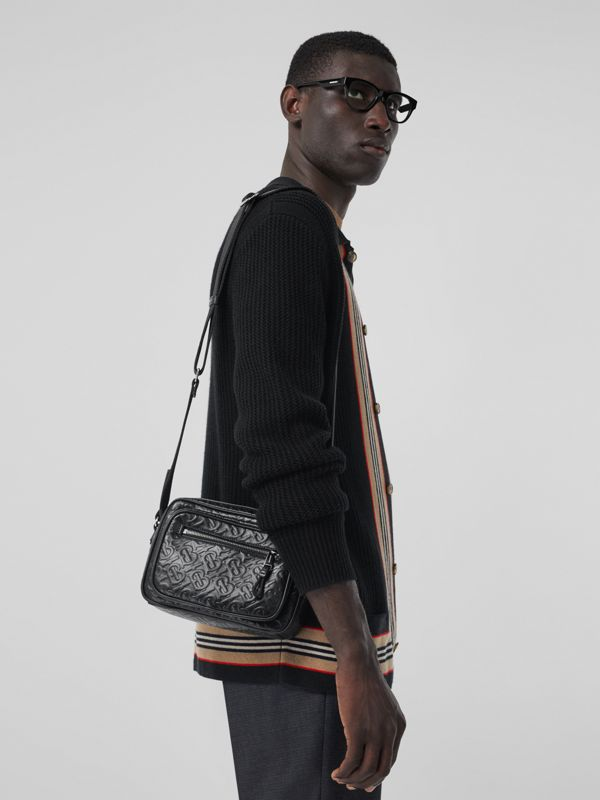 Monogram Leather Crossbody Bag in Black - Men | Burberry Australia - cell image 2