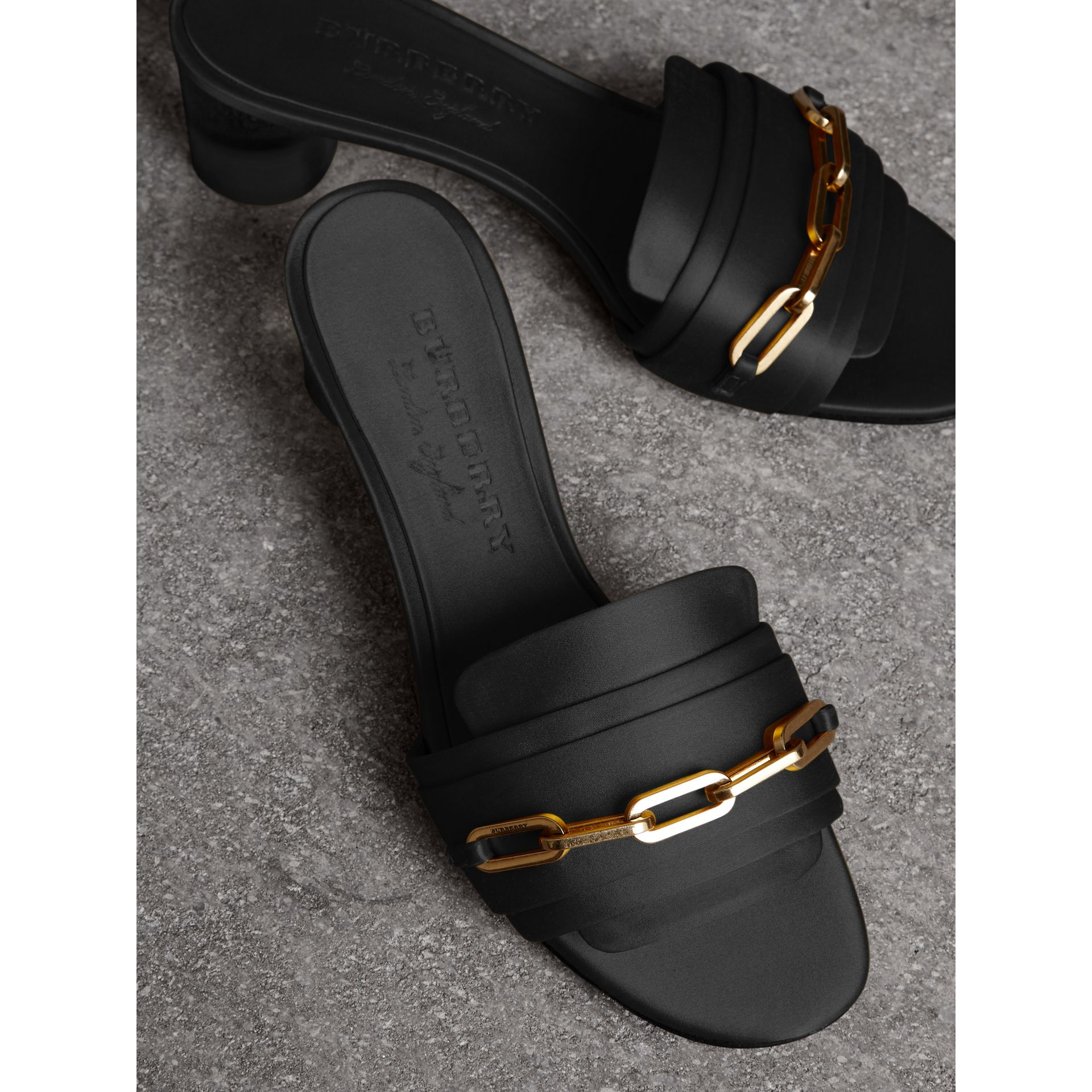 Link Detail Satin Heeled Slides in Black - Women | Burberry Canada - gallery image 4