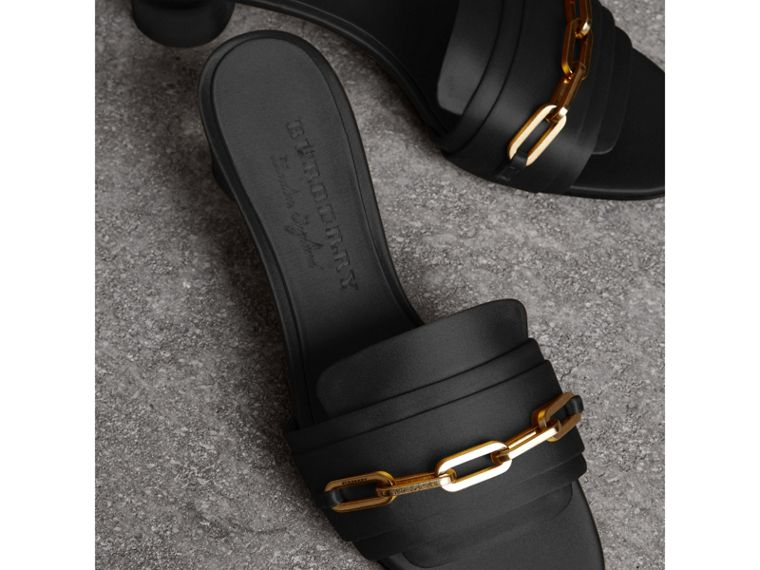 Link Detail Satin Heeled Slides in Black - Women | Burberry - cell image 4