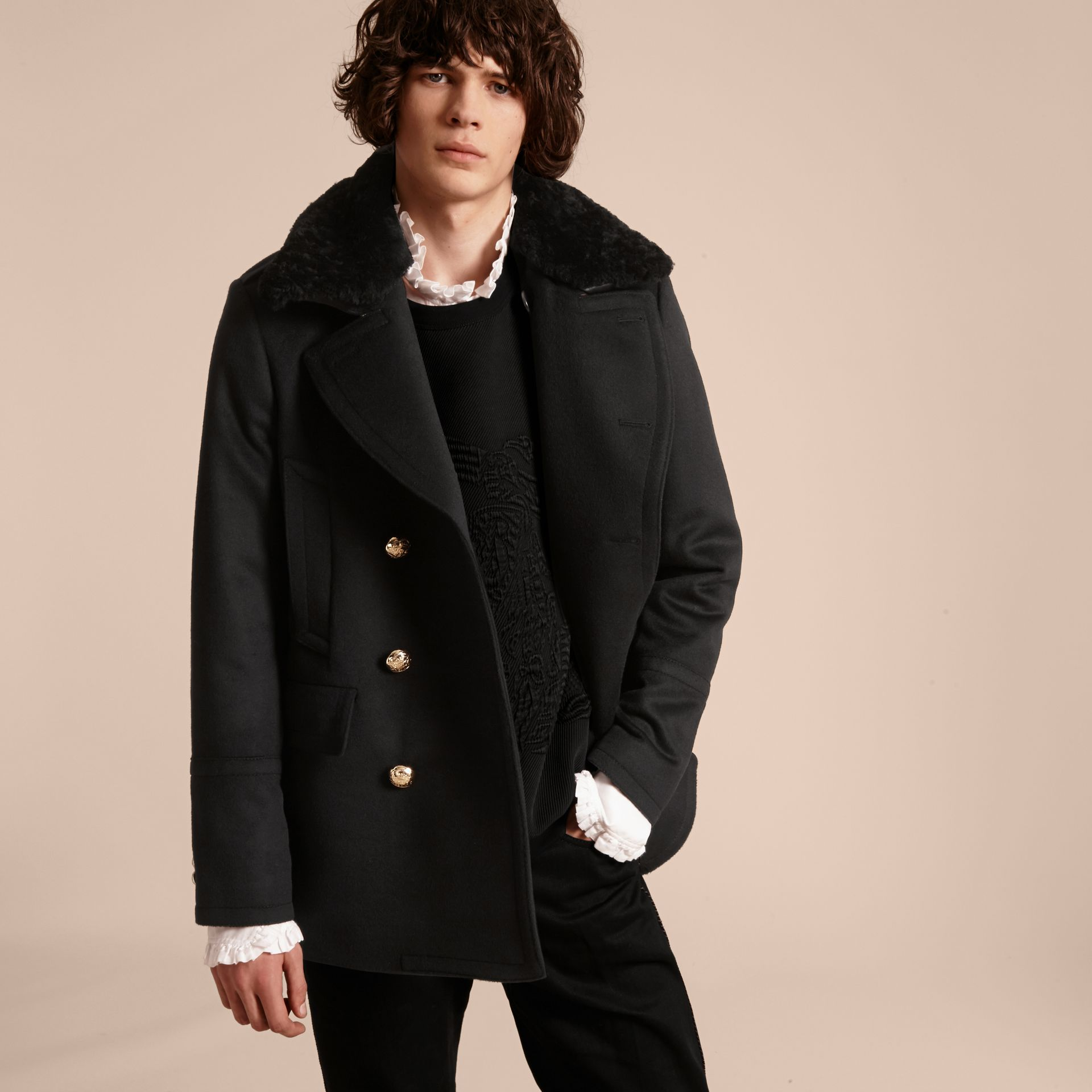 Military Pea Coat with Detachable Shearling Collar - gallery image 1