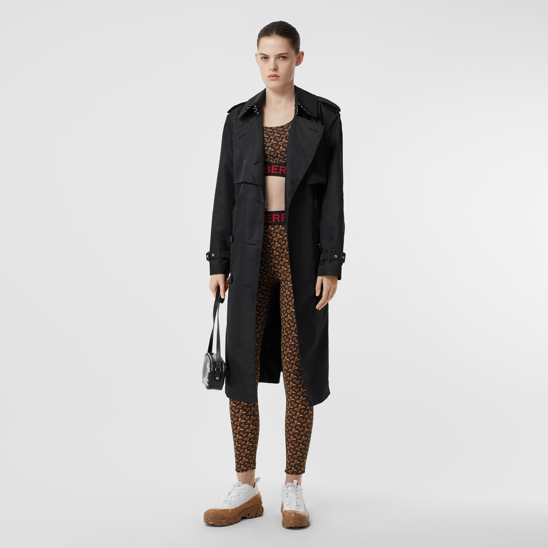 Leggings de malha stretch com estampa de monograma (Castanho Couro) - Mulheres | Burberry - galeria de imagens 4