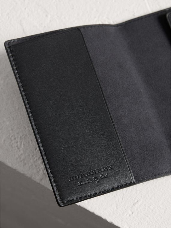 Embossed Leather Passport Holder in Black | Burberry - cell image 3