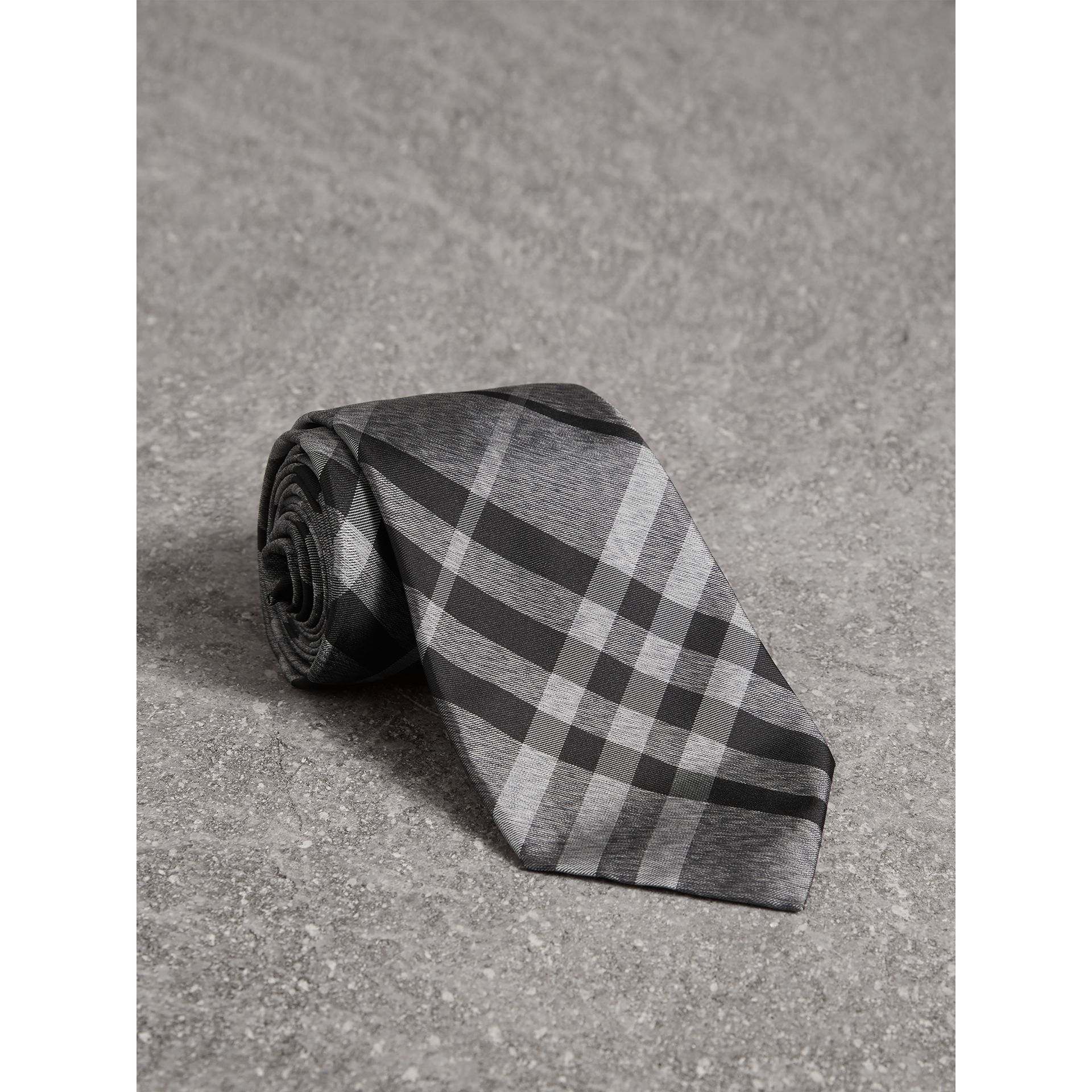 Classic Cut Check Silk Tie in Mineral Grey - Men | Burberry United States - gallery image 0