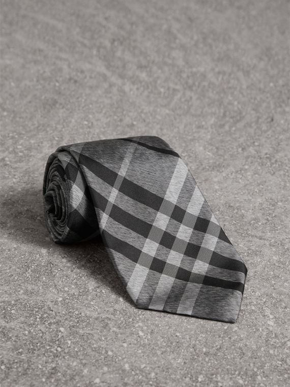 Classic Cut Check Silk Tie in Mineral Grey