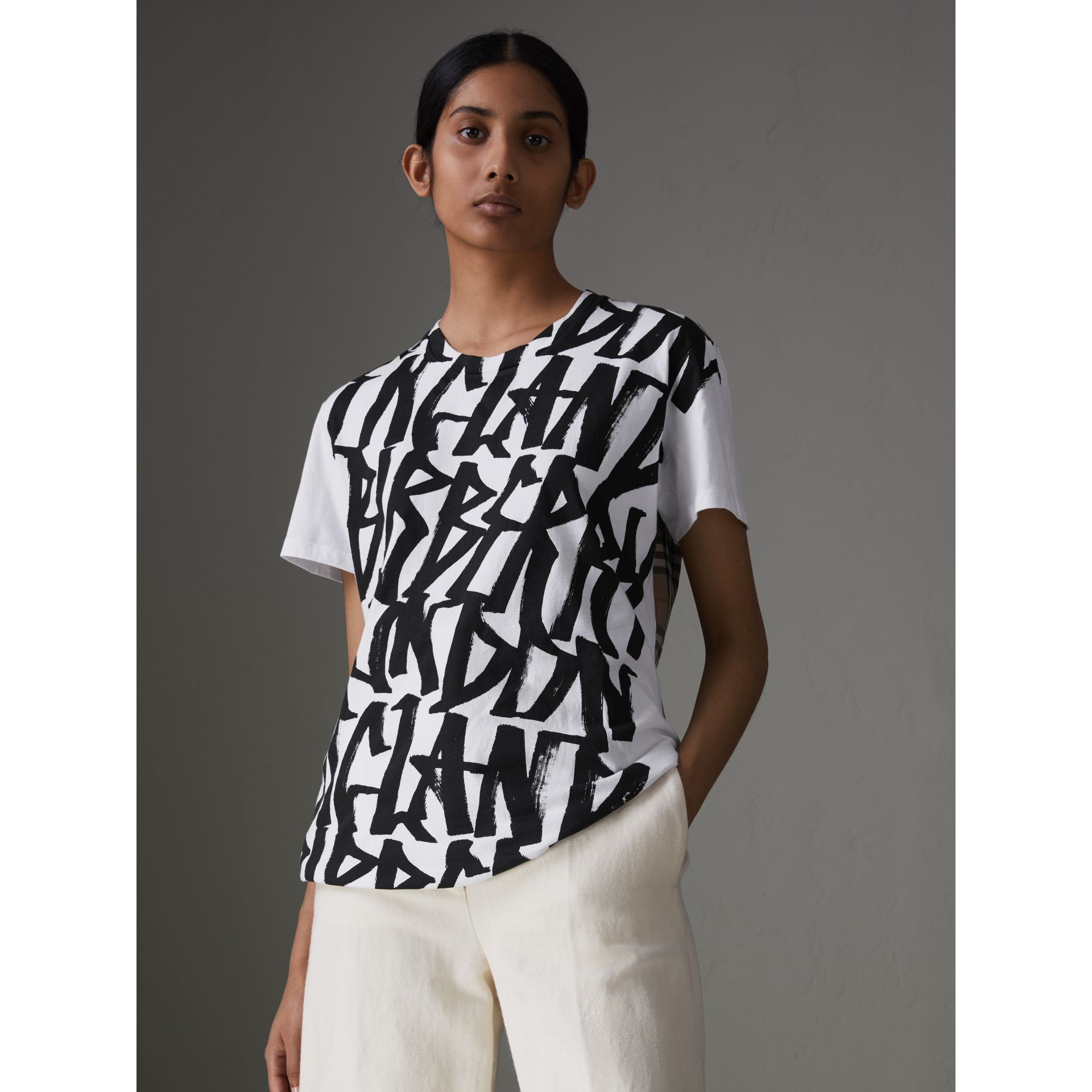 Graffiti Print and Vintage Check T-shirt in White - Women | Burberry - gallery image 1