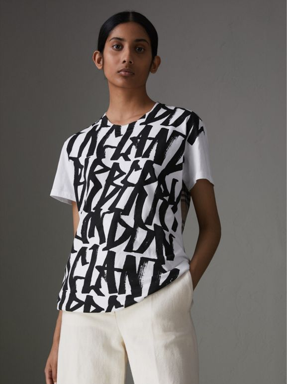 Graffiti Print and Vintage Check T-shirt in White - Women | Burberry United Kingdom - cell image 1