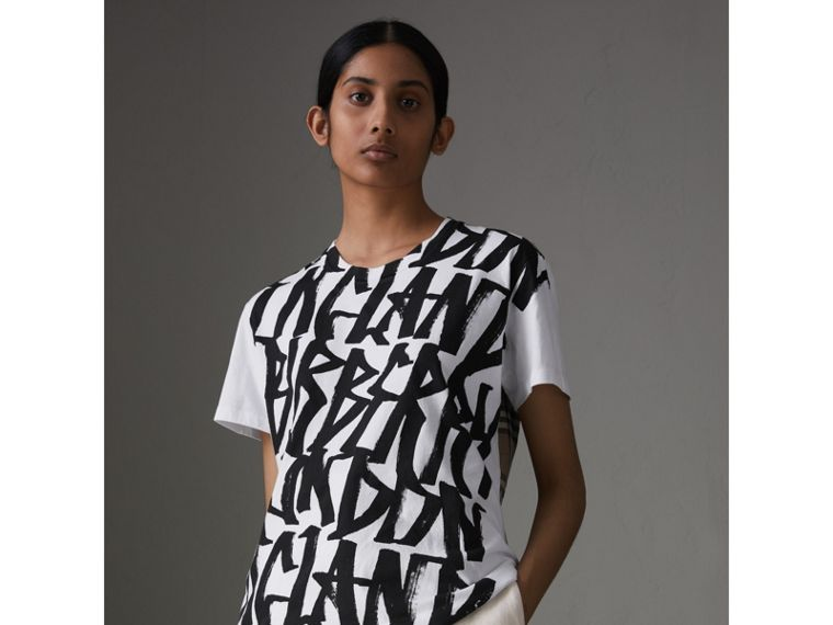 Graffiti Print and Vintage Check T-shirt in White - Women | Burberry - cell image 1