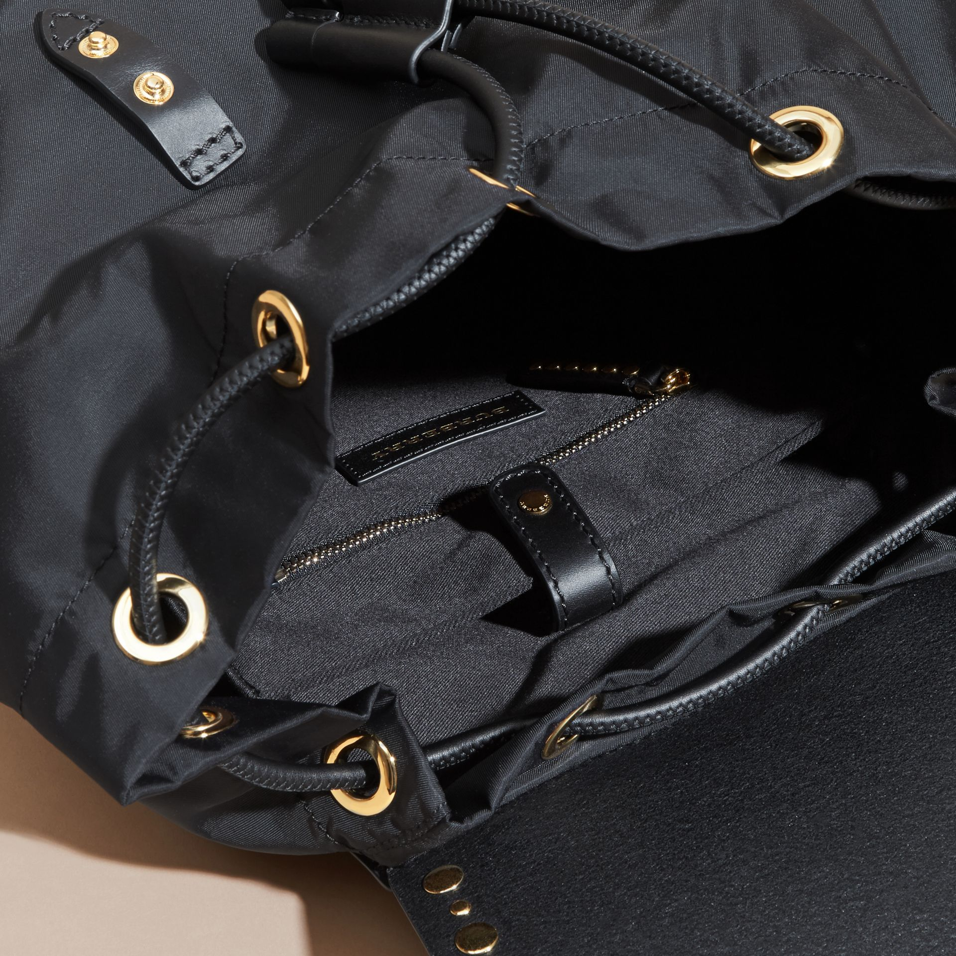 Black The Large Rucksack in Nylon and Riveted Leather - gallery image 5