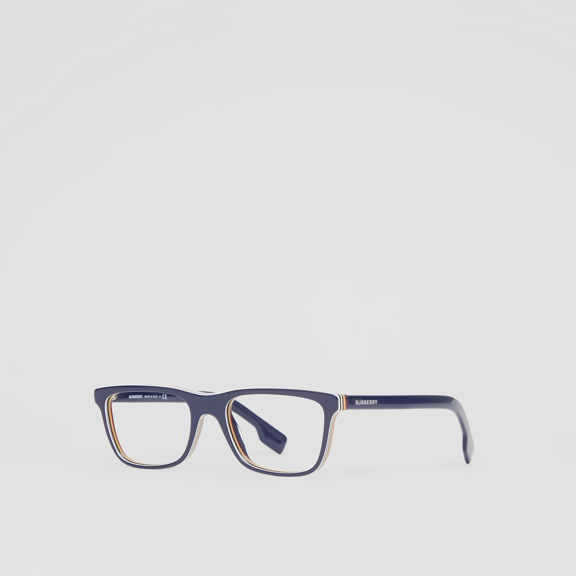 Icon Stripe Detail Rectangular Optical Frames in Blue - Men | Burberry - gallery image 4