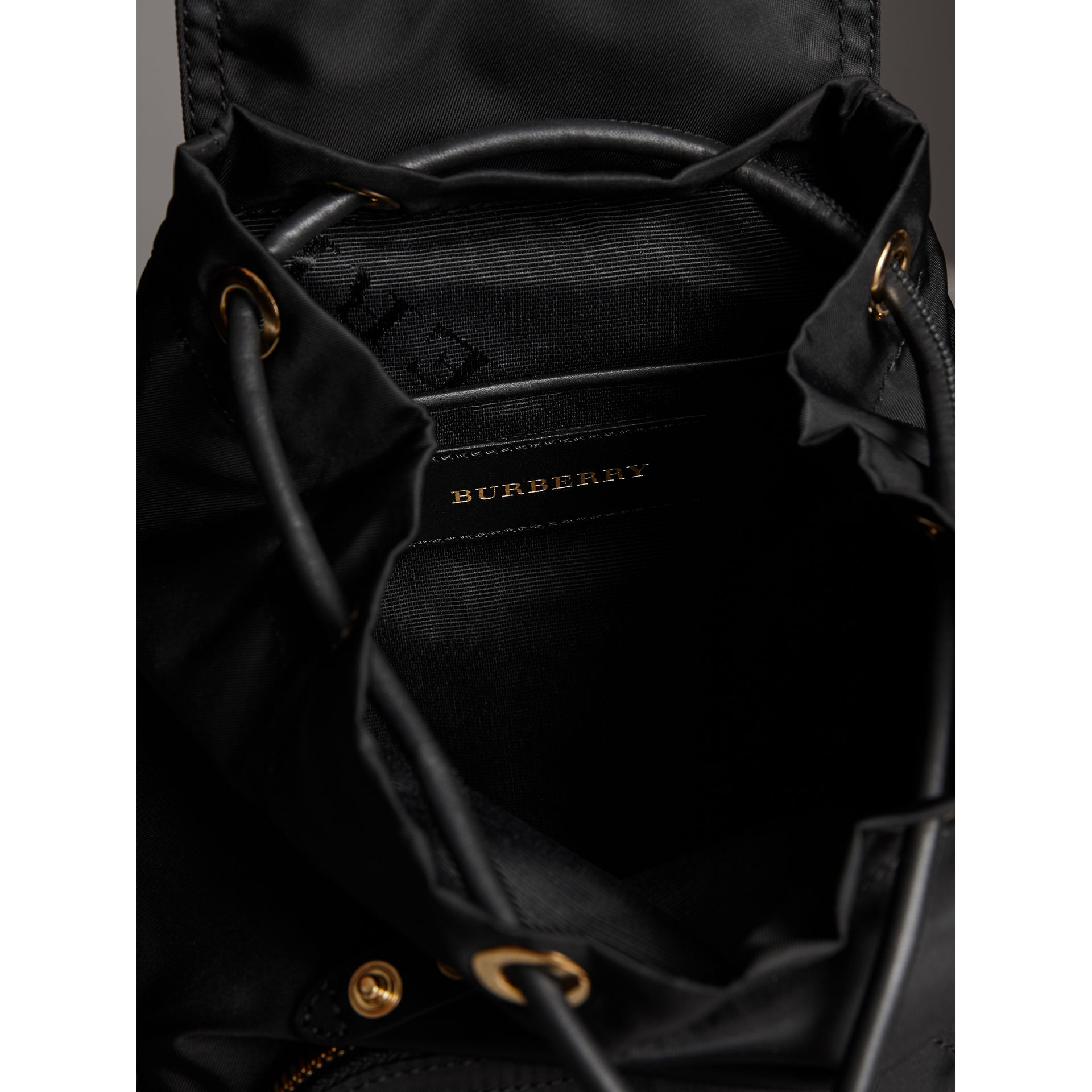 The Crossbody Rucksack in Nylon and Leather in Black - Women | Burberry United Kingdom - gallery image 5