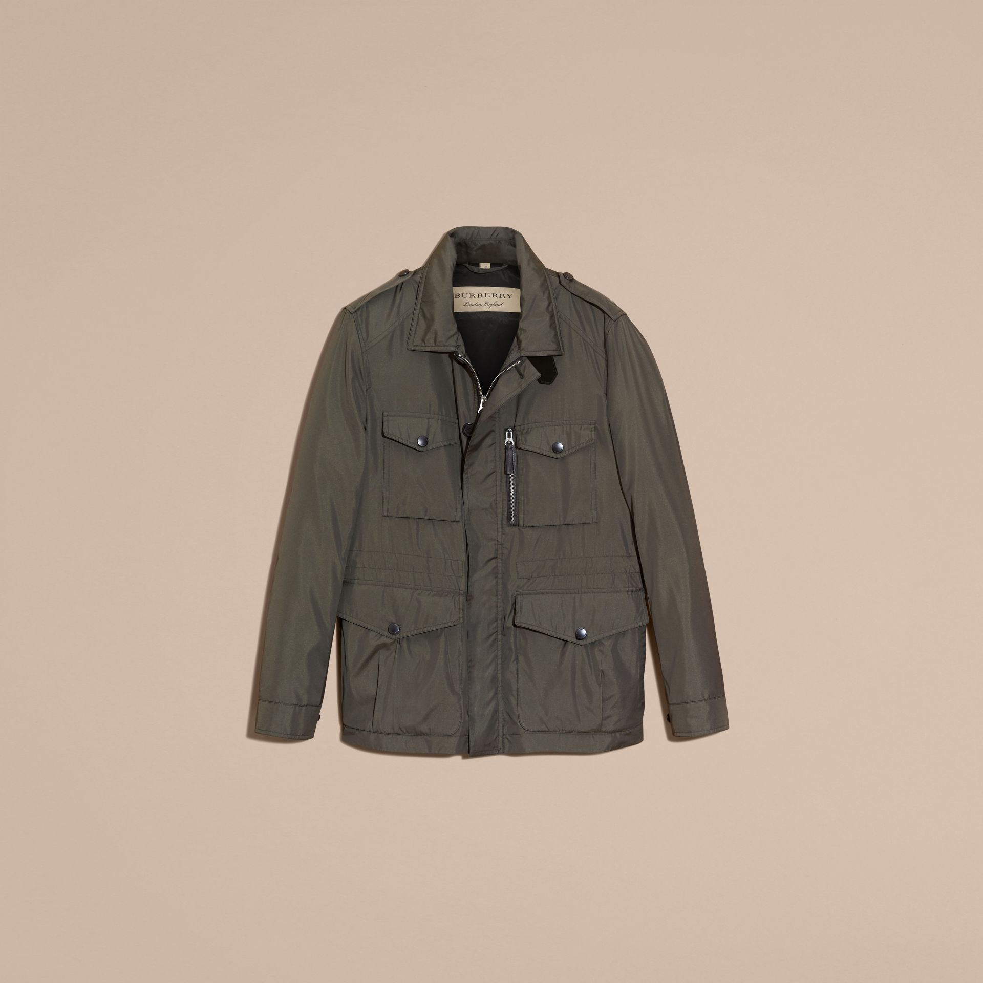 Green black Technical Silk Blend Field Jacket - gallery image 4