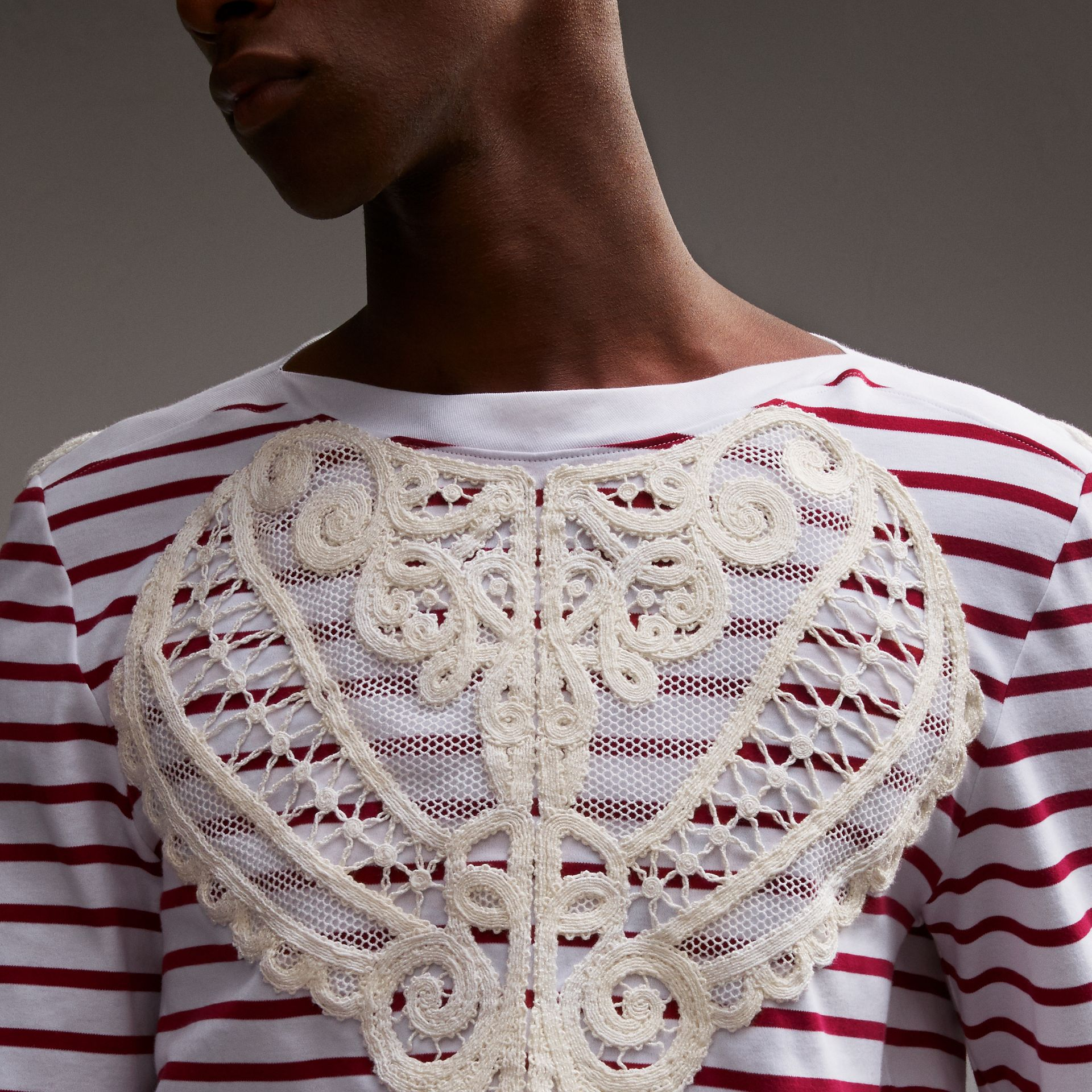 Unisex Breton Stripe Cotton Top with Lace Appliqué - Men | Burberry - gallery image 6