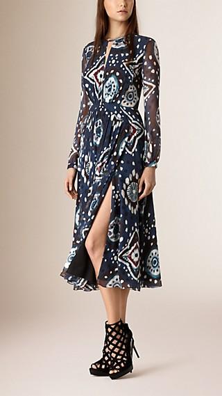 Tie-dye Print Silk Crepe de Chine Dress