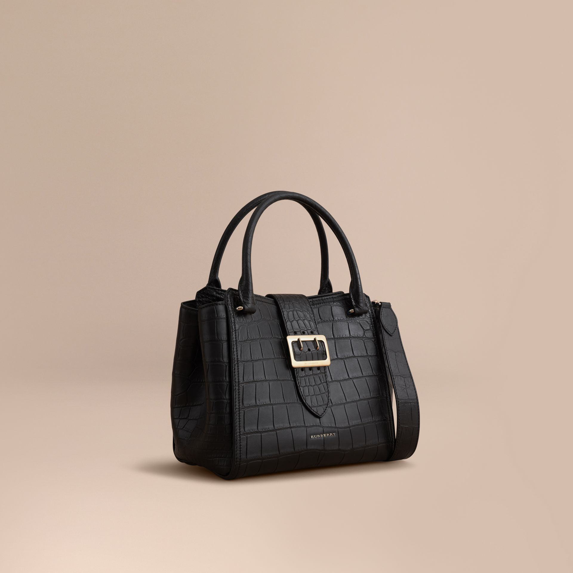The Medium Buckle Tote in Alligator in Black - Women | Burberry United Kingdom - gallery image 1
