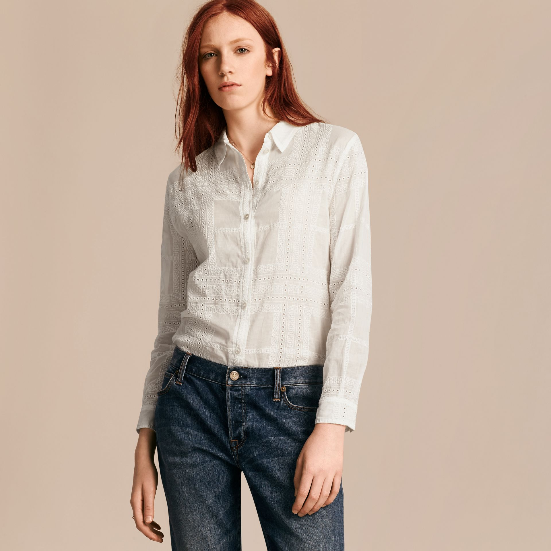 Check Cotton Broderie Anglaise Shirt - gallery image 6
