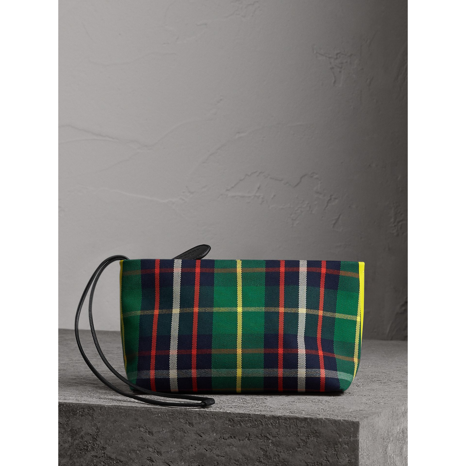 Tartan Cotton Clutch in Forest Green/deep Navy | Burberry Singapore - gallery image 7