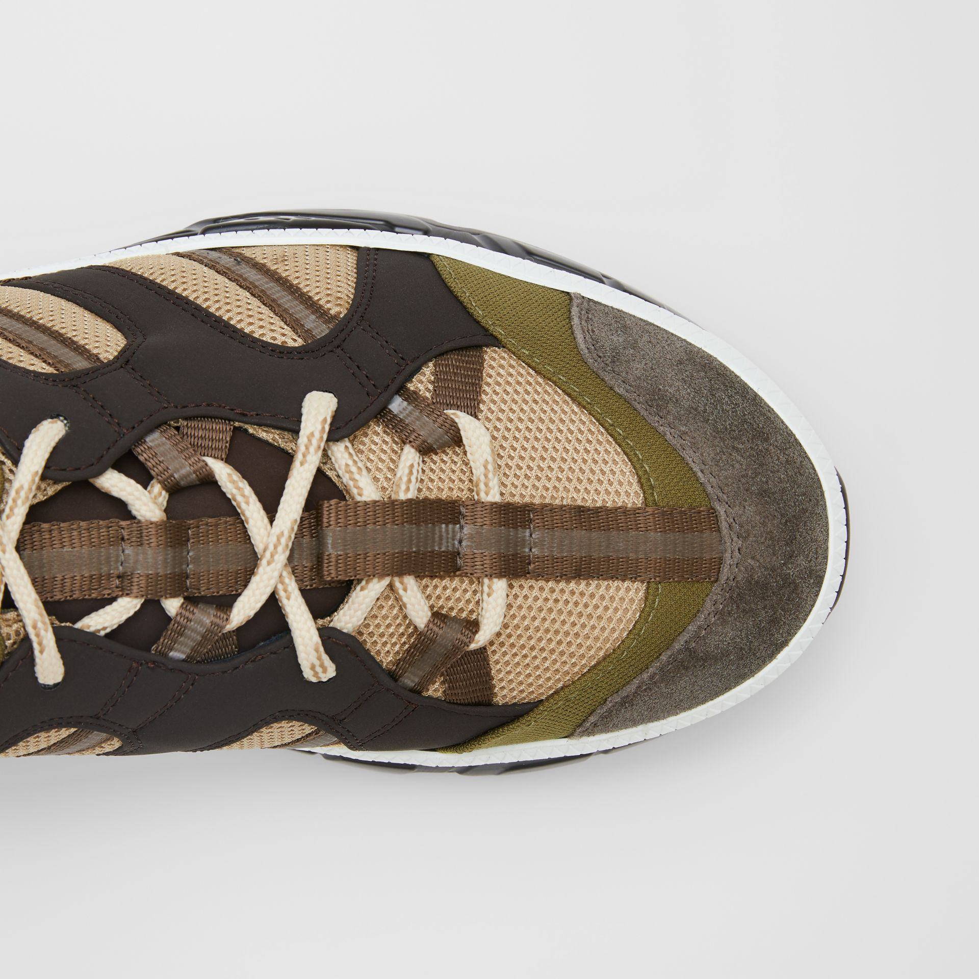 Mesh and Suede Union Sneakers in Khaki / Brown - Men | Burberry Australia - gallery image 1