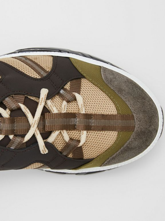 Mesh and Suede Union Sneakers in Khaki / Brown - Men | Burberry Canada - cell image 1