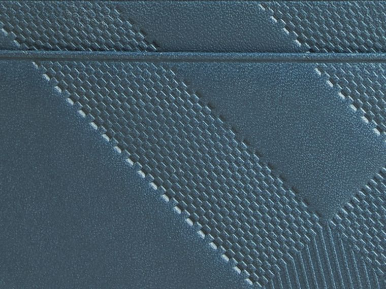 Steel blue Check Embossed Leather Card Case Steel Blue - cell image 1