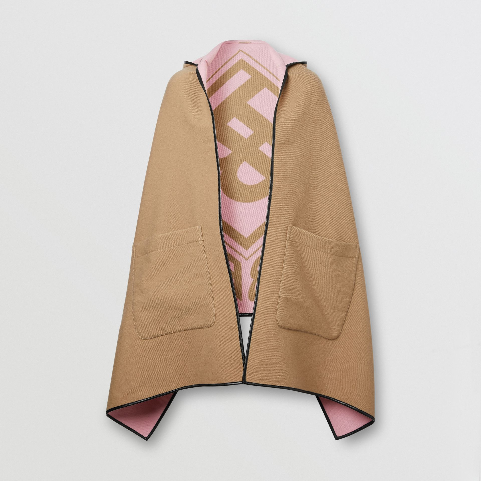 Logo Graphic Wool Cotton Jacquard Hooded Cape in Archive Beige | Burberry United States - gallery image 3