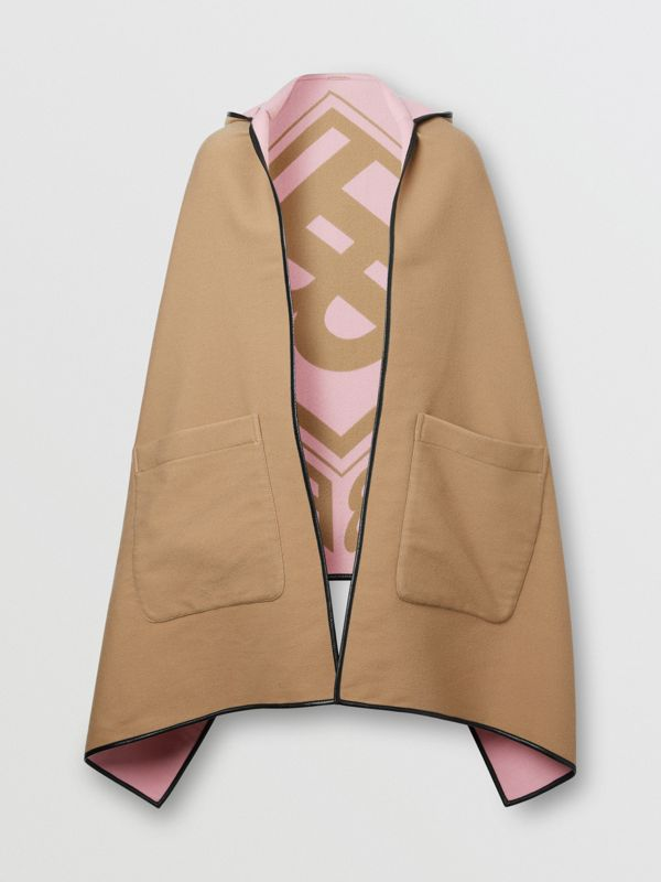 Logo Graphic Wool Cotton Jacquard Hooded Cape in Archive Beige | Burberry United States - cell image 3