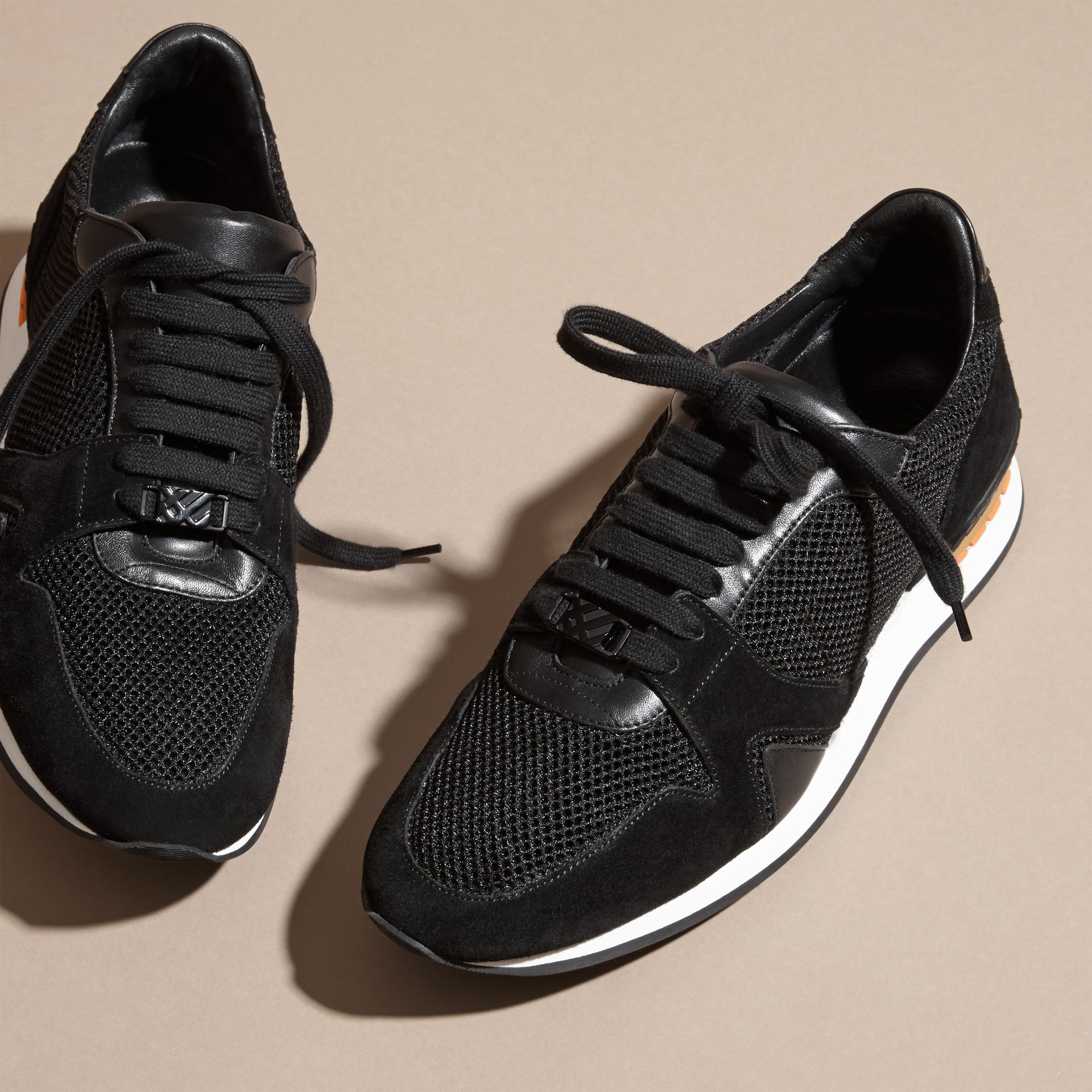 Black The Field Sneaker in Suede and Mesh Black - gallery image 3