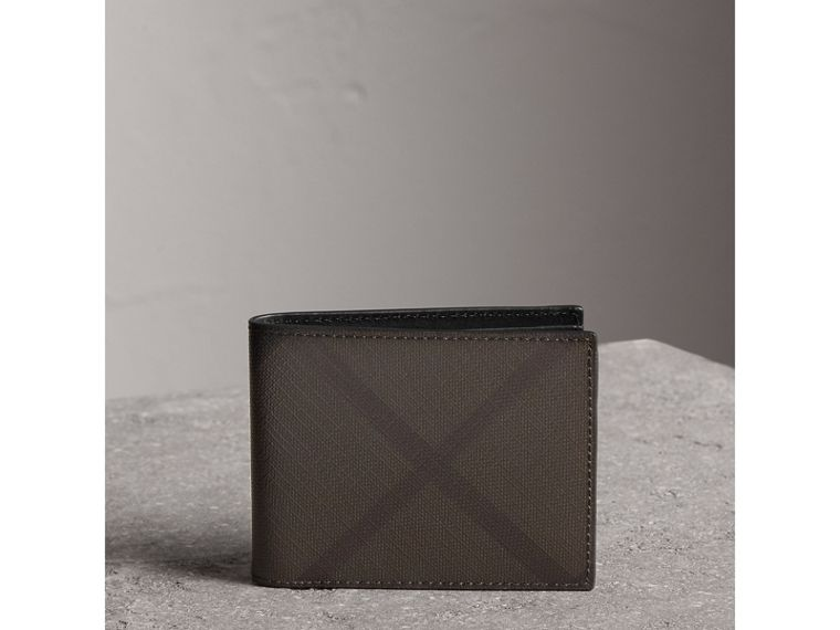 London Check and Leather Bifold Wallet in Chocolate/black - Men | Burberry - cell image 4