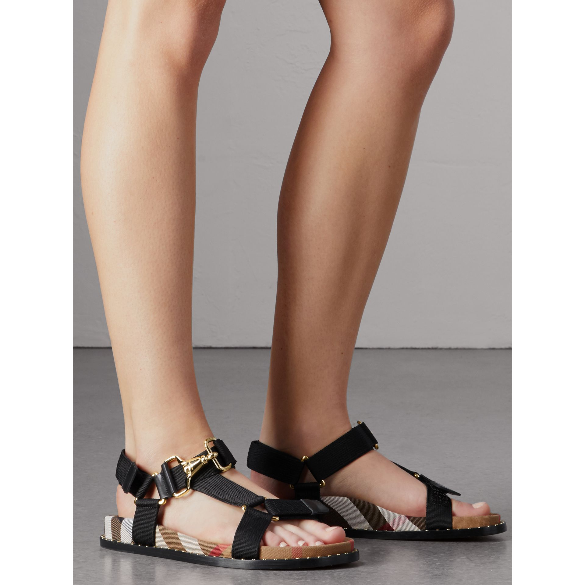 House Check Strappy Sandals with Hardware Detail in Black - Women | Burberry United States - gallery image 3