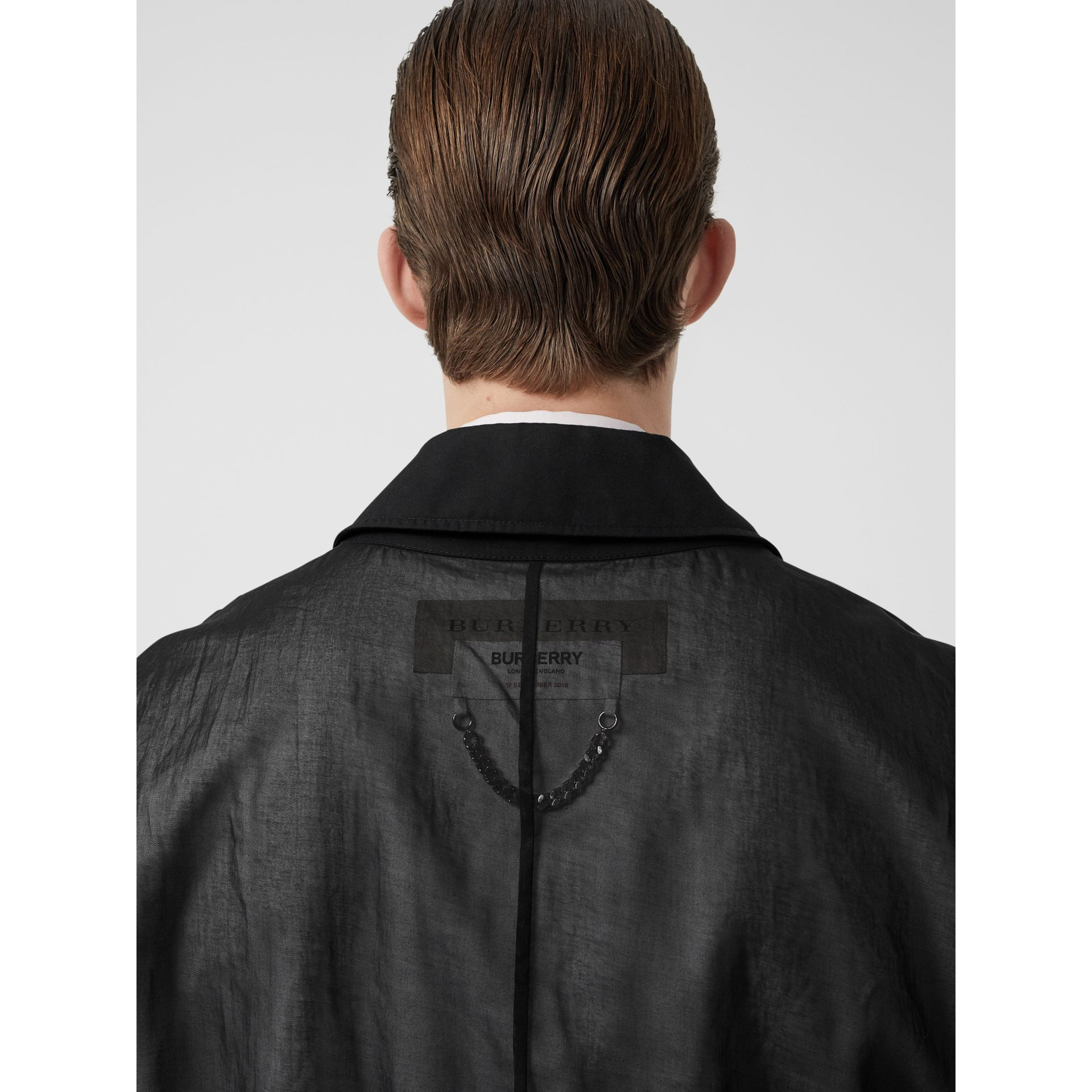 Logo Detail Panelled Cotton Blouson in Black - Men | Burberry - gallery image 1
