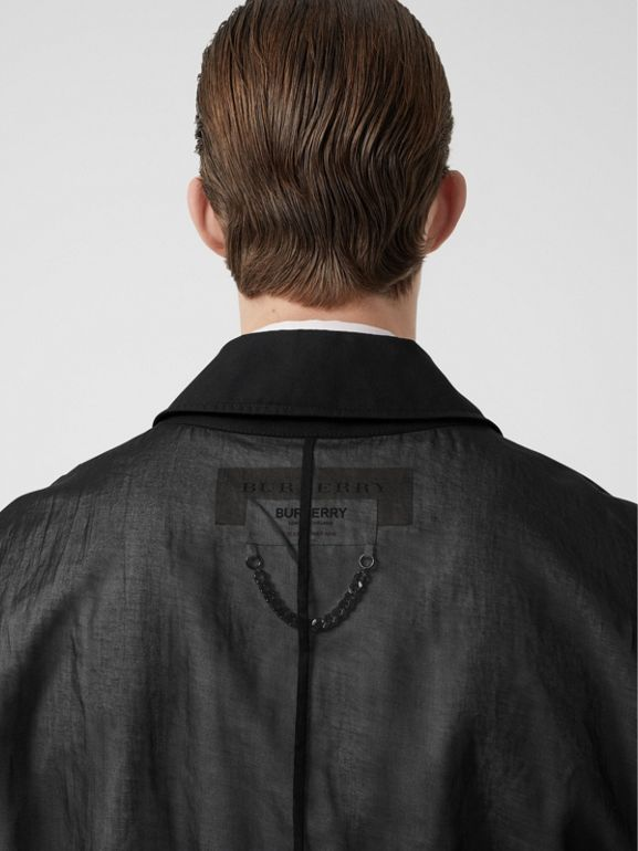 Logo Detail Panelled Cotton Blouson in Black - Men | Burberry Singapore - cell image 1