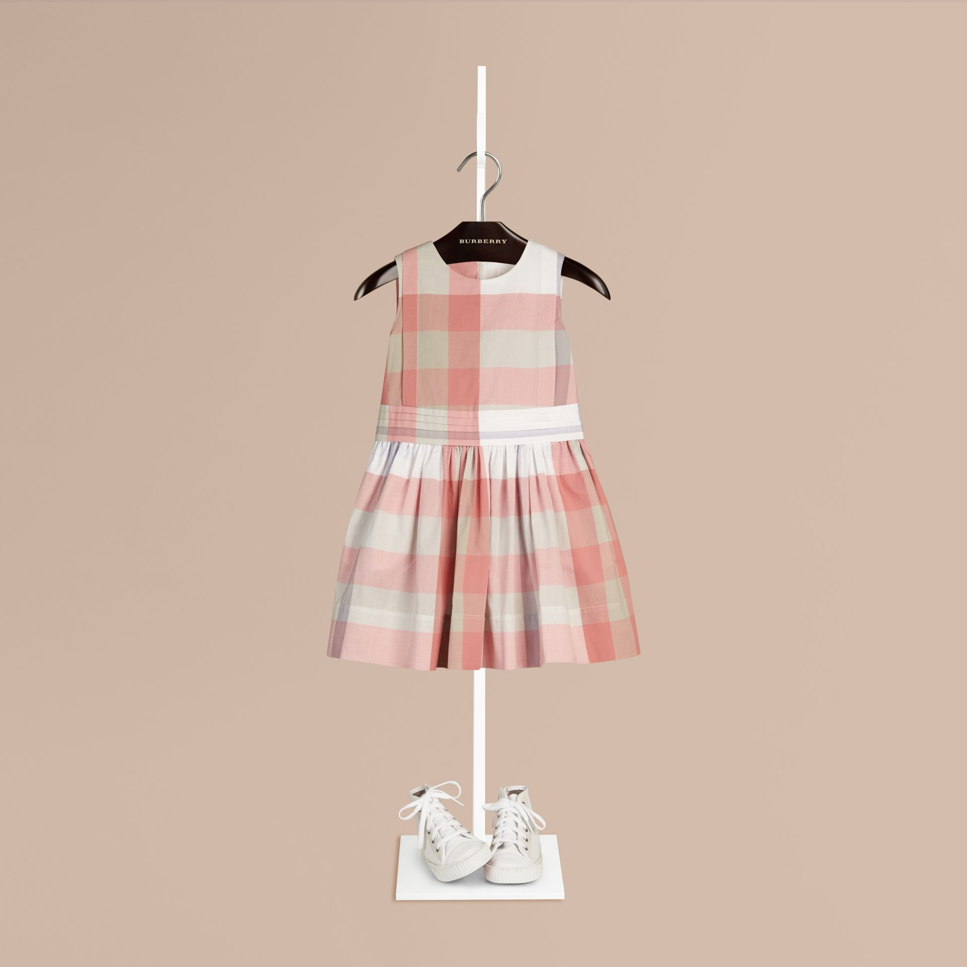 Light copper pink Sleeveless Check Cotton Dress Light Copper Pink - gallery image 1