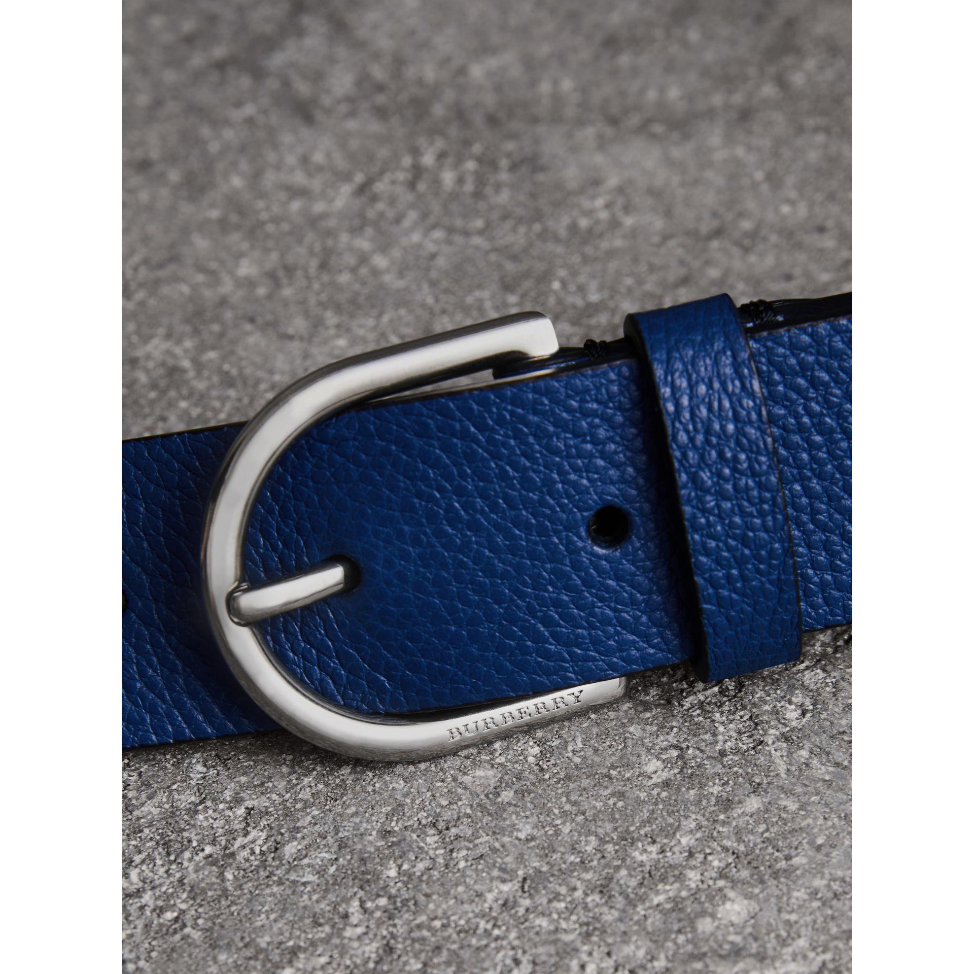 D-shaped Buckle Grainy Leather Belt in Bright Ultramarine - Men | Burberry Canada - gallery image 1