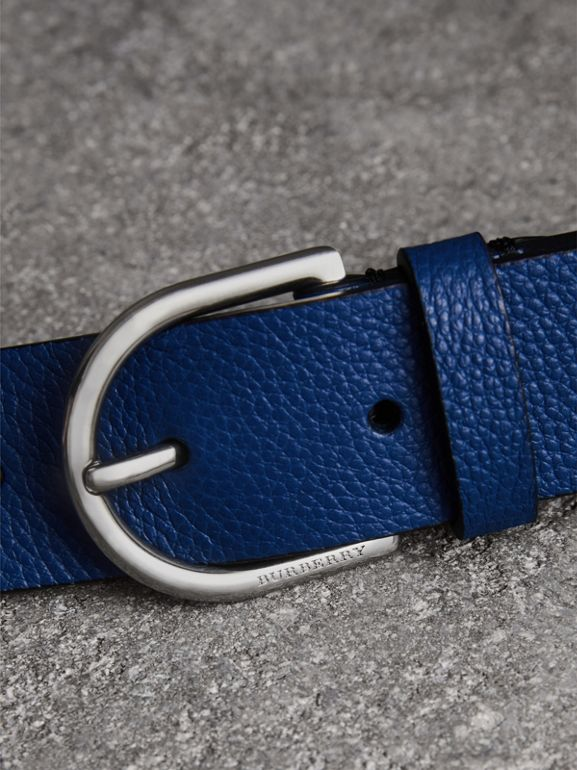 D-shaped Buckle Grainy Leather Belt in Bright Ultramarine - Men | Burberry Canada - cell image 1
